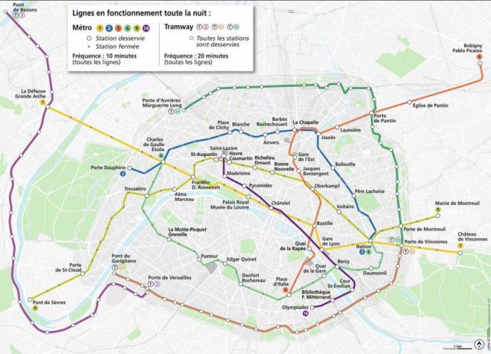 stations metro ouvertes nuit paris