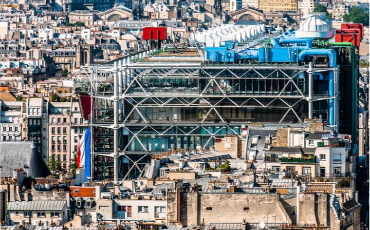 vue aerienne beaubourg paris